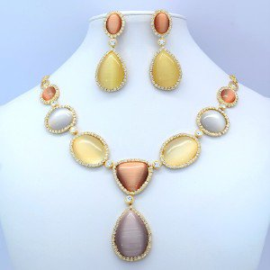 Brown Pear Circle Opal Necklace Earring Set W/ Clear Swaroski Crystals Oval