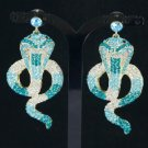Rhinestone Crystals Animal Pierced Drop Blue Cobra Snake Earring
