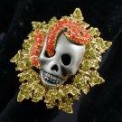 Swarovski Crystals Vintage Style Perforate Snake Skull Cocktail Ring 7#
