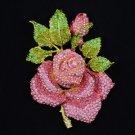 """Big Leaf Bud Rose Brooch Broach Pin 5.5"""" W/ Pink Rhinestone Crystals"""