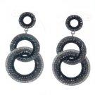 Stylish Dangle Pierced Black Circle Earring W/ Rhinestone Crystals