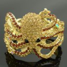 Rhinestone Crystals Animal Brown Octopus Bracelet Bangle Cuff Jewelry