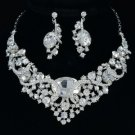 Bridal Oval Flower Necklace Earring Set W/ Clear Rhinestone Crystals 04312