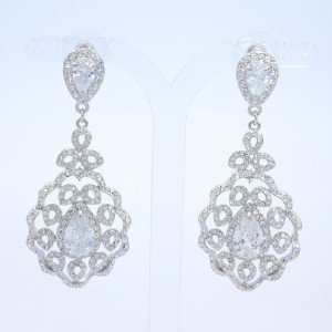Dangle Flower Earring Pierced Swarovski Crystal Clear Teardrop Zircon