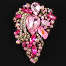 "Vintage Style Beautiful Pink Flower Brooch Broach Pin 3.3"" W/ Rhinestone Crystal"