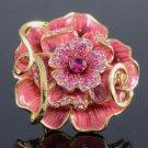 Swarovski Crystals High Quality Pink Rose Flower Cocktail Ring Size 6 3/4#