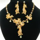 High Quality Swarovski Crystals Posh Brown Multi Cat Necklace Earring Set