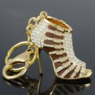 Brown High-Heel Shoe Key Chain Key Ring W/ Swarovski Crystals