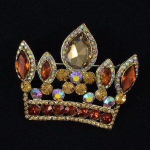"Vintage Style 2.3"" Brown Crown Pendant Brooch Broach Pin W/ Rhinestone Crystals"