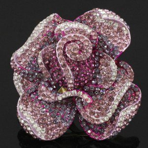 Vogue Purple Rose Flower Cocktail Ring Adjustable w Swarovski Crystals