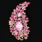 """Hot Pretty Flower Brooch Pin 4.5"""" W/ Pink Rhinestone Crystals"""