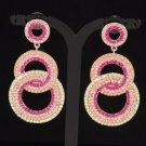 Stylish Dangle Pierced Pink Circle Earring W/ Rhinestone Crystals