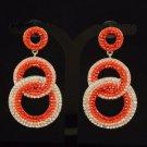Stylish Dangle Pierced Red Circle Earring W/ Rhinestone Crystals