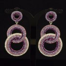 Stylish Dangle Pierced Purple Circle Earring W/ Rhinestone Crystals