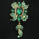 """New Pretty Flower Brooch Pin 4.8"""" W Blue Rhinestone Crystals"""