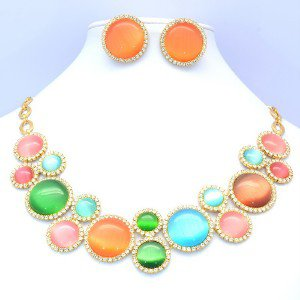 Rare Multicolour Circle Opal Necklace Earring Set W/ Clear Swaroski Crystals