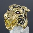 Yellow Zircon H-Quality Animal Tiger Cocktail Ring 9# W/ Swarovski Crystals