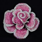 """Big Flower Rose Brooch Pin 3.9"""" W/ Pink Rhinestone Crystals"""