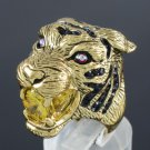 Yellow Zircon H-Quality Animal Tiger Cocktail Ring 8# W/ Swarovski Crystals