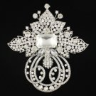 "Large Clear Flower Brooch Pin 4.5"" W Swarovski Crystals"
