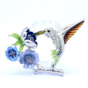 Chic Blue Flower Bird Animal Hummingbird Brooch Pin Swarovski Crystals