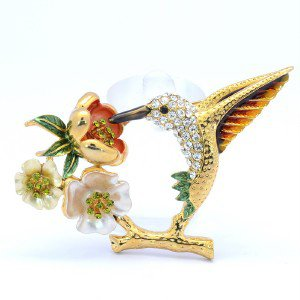Chic Flower Animal Bird Hummingbird Brooch Pin Clear Swarovski Crystals