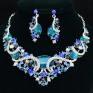 Vogue Blue Zircon Oval Flower Necklace Earring Set Rhinestone Crystals 04312