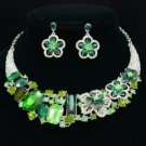 Popular Green Ellipse Oblong Flower Necklace Earring Set W/ Rhinestone Crystals