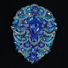"Hot Big Drop Capri Blue Pendant Flower Brooch Pin 4.9"" W/ Swarovski Crystals"