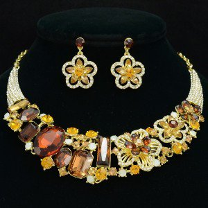 Smoked Topaz Rhinestone Crystals Ellipse Oblong Flower Necklace Earring Set