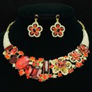 Delicate Red Ellipse Oblong Flower Necklace Earring Set W/ Rhinestone Crystals