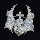 "Breathtaking Wing Cross Heart Skull Brooch Pin 2.8"" W/ Clear Rhinestone Crystals"