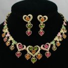 High Quality Multi Heart Necklace Earring Set W/ Mix Swarovski Crystals
