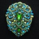"Hot Swarovski Crystals Big Drop Blue Zircon Pendant Flower Brooch Pin 4.9"""