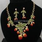 Swarovski Crystals Red Strawberry Necklace Earring Set W/ Green Leaf