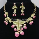 Swarovski Crystals H-Quality Pink Strawberry Necklace Earring Set W/ Green Leaf