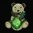 "Rhinestone Crystals Gold Tone Animal Bamboo Panda Brooch Broach Pin 2.3"""