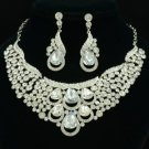 Clear Drop Flower Necklace Earring Wedding Jewelry Sets Rhinestone Crystal