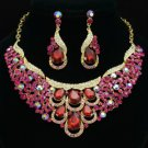 Fuchsia Rhinestone Crystal Pretty Drop Flower Necklace Earring Jewelry Sets