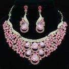 Rhinestone Crystal Trendy Pink Drop Flower Necklace Earring Jewelry Sets