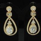 Rhinestone Crystals Dainty Dangle Pierced Clear Flower Teardrop Earring
