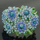 Silver Tone Blue Snowflake Flower Bracelet Bangle Cuff W/ Rhinestone Crystals