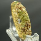 New Olivine Swarovski Crystals Lotus Leaf Tadpole Froggy Frog Bracelet Bangle