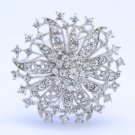 Clear Flower Broach Brooch Pin Rhinestone Crystals 2.1""