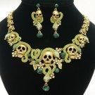 Excellent Swarovski Crystals Green Snake Skull Necklace Earring Set 4 Halloween