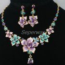 Purple Flower Butterfly Necklace Earring Set Swarovski Crystals