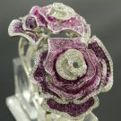 Fashion Purple Leaf 2 Rose Flower Bracelet Bangle W/ Swarovski Crystals