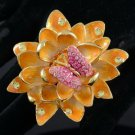 High Quality Brown Lotus Flower Butterfly Cocktail Ring 7# W/ Swarovski Crystals
