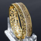 High Quality Gold Tone Tiger Texture Bracelet Bangle W/ Clear Swarovski Crystals