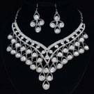 Wedding H-Quality Glitzy Clear Flower Necklace Earring Set W/ Swarovski Crystals